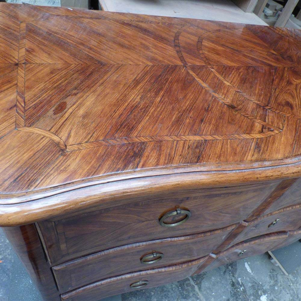 commode transition bois de violette restauration