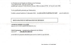 Attestation d'artisan d'art